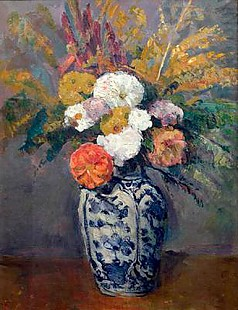 Paul Cézanne - Dahlien-bouquet in porcelain vase