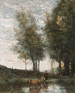 Jean Baptiste Camille Corot - The pond, cowherd
