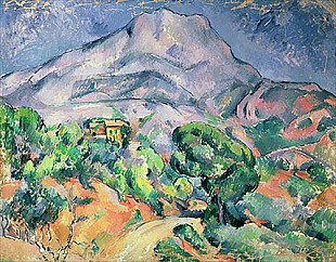 Paul Cézanne - Montagne Sainte-Victoire from the south-west with Trees and a House