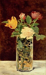 Edouard Manet - Roses and Tulips in a Vase