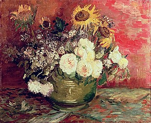 Vincent van Gogh - Sunflowers, Roses and other Flowers in a Bowl