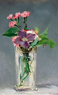 Edouard Manet - Pinks and Clematis in a Crystal Vase