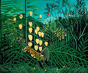 Henri Rousseau - Fight between tiger and buffalo in a tropic forrest