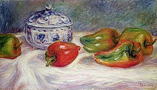 Pierre-Auguste Renoir - Still life with a sugar bowl and red peppers