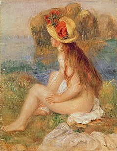 Pierre-Auguste Renoir - Seated female bather in a straw hat