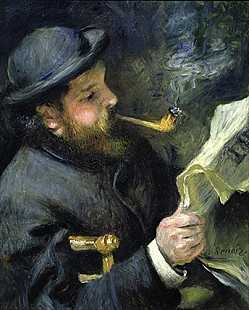 Pierre-Auguste Renoir - Painting of Claude Monet while reading a newspaper and smoking pipe
