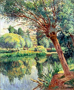Maximilien Luce - The Presbytery and the Willow on the River Bank