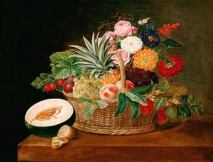 Johan Laurentz Jensen - Basket with flowers and fruits