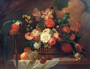 ital. Stillebenmaler - Flowers and fruit still life with parrot