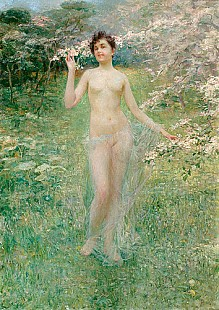 Paul Rieth - Female Nude at a springtime meadow