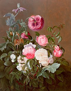 Johan Laurentz Jensen - Still life of roses and poppy