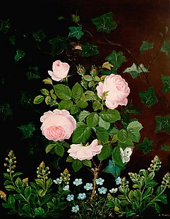 E. Gross - Still life of roses and wise flowers