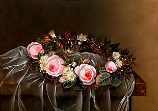 Johan Laurentz Jensen - Still life of flowers with roses skein