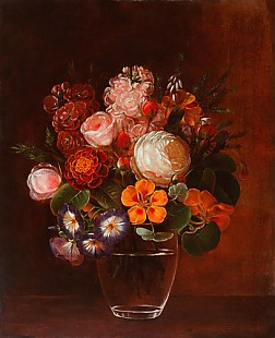 Johan Laurentz Jensen - Still life with roses, winding, cress and Erica in a glass vase