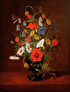 Christian Chr. Möllback - Still life with flowers