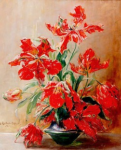 Georg Fischer-Elpons - Still life with bloomed tulips