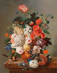 Alexandre van Antro - Still life with flowers, birds and insects