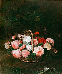 Johan Laurentz Jensen - zugeschr. - Flourish roses in a wicker basket