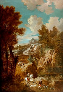 Roeland Roghman - Knight and falconer in Italian mountain landscape