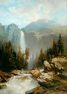 August Wilhelm Leu - Landscape with mountains and waterfall