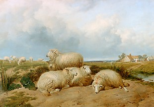 Thomas Sidney Cooper - Sheep herd in a summer landscape in England