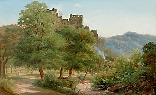 Frederik Hansen Södring - Evening in front a forest glade at the castle in Heidelberg in the summer