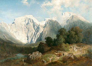August Wilhelm Leu - Party in a higher mountain valley