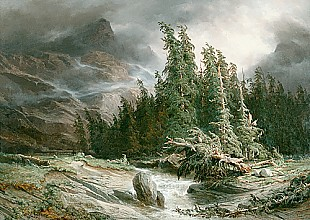 Alexandre Calame - Coming up storm in mountain valley