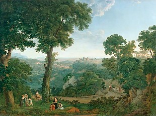 Johann Jacob (Müller von Riga Müller - Southern landscape with resting at the way edge