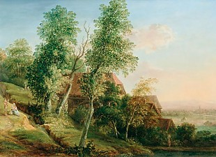Christian Georg II Schütz - Landscape lt the river Main in summer