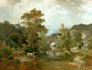 Ludwig Sckell - Watering place in a Bavarian river valley