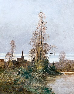Eduard Köster - Pond at the edge of a small city