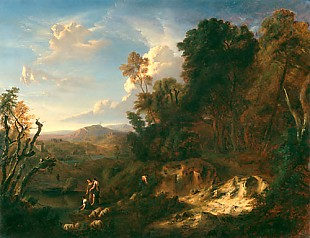 Johann Wilhelm Schirmer - Landscape with figures and sheep herd