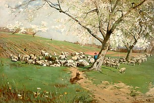 Hans von Bartels - Herd of sheep at a meadow