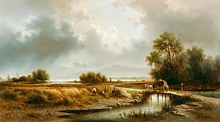 Albert Rieger - Hay harvest at a tarn, maybe Lake Chiem