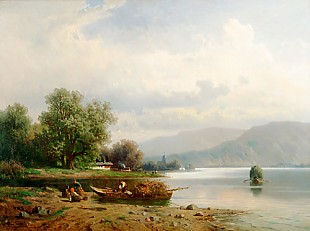 August Eduard Schliecker - Bavarian lake in the mountains
