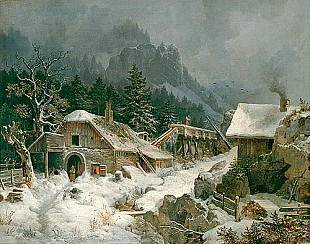 Heinrich Bürkel - Winter evening with smithy in the mountains