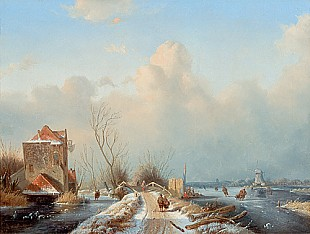 Andreas Schelfhout - Winterplaesure