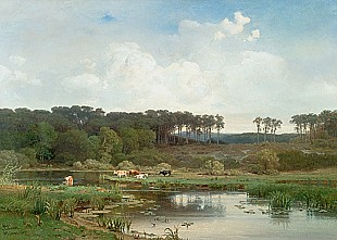 Max Schmidt - Landscape with lake and cows