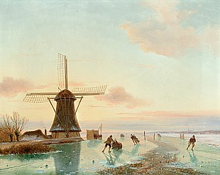 Nicolaas Johannes Roosenboom - Ice skater at evening