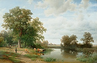 Johann (Hans) Beckmann - shepherd with cow herd at riverbank under old oaktrees