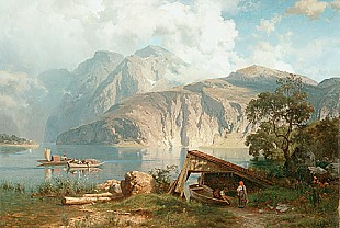 August Wilhelm Leu - Mountain landscape with a lake