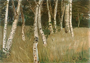Otto Modersohn - Birch trees on a meadow at forest edge