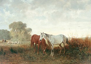 Emil Adam - Landscape with horses and sheep