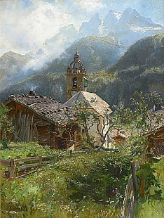 Hermann Schnee - Village church in swiss alps