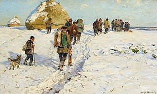Hugo Mühlig - Hunting party in the snow