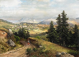 Carl Gustav Rodde - Southern German landscape with a view of the city