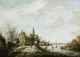 Andreas Schelfhout - Winter landscape with ice skater