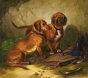 Ludwig Voltz - A couple of dachshunds while resting after the foxhunting