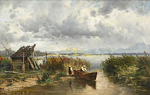 Eduard Bitterlich - Fisherfamily at the summery Chiemsee